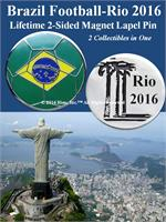 Brazil-Rio 2016 Football 2-Sided Magnet Pin